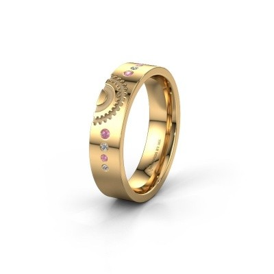 Trouwring WH2116L25A 585 goud roze saffier ±5x1.7 mm
