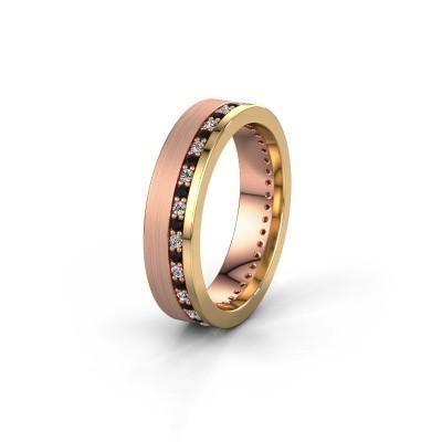 Trouwring WH0303L15BPM 585 rosé goud zwarte diamant 0.484 crt ±5x2 mm