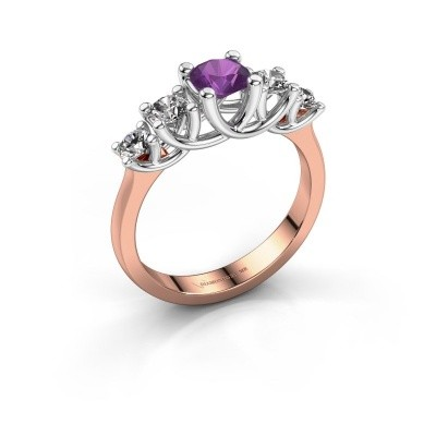 Engagement ring Jet 585 rose gold amethyst 5 mm