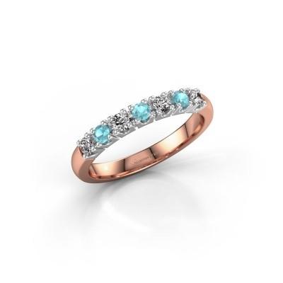 Foto van Belofte ring Rianne 7 585 rosé goud blauw topaas 2.4 mm