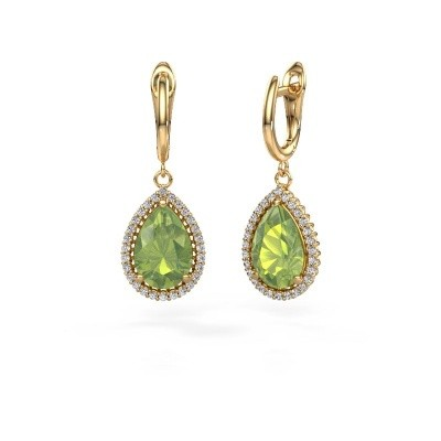 Picture of Drop earrings Hana 1 585 gold peridot 12x8 mm