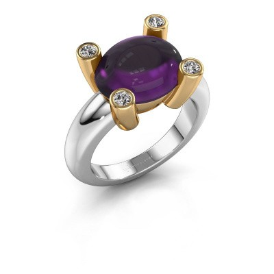 Ring Janice OVL 585 white gold amethyst 12x10 mm