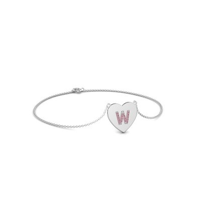 Photo de Bracelet Initial Heart 375 or blanc saphir rose 1 mm