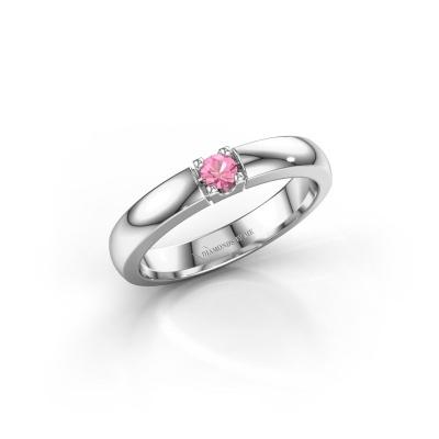 Foto van Verlovingsring Rianne 1 950 platina roze saffier 3 mm