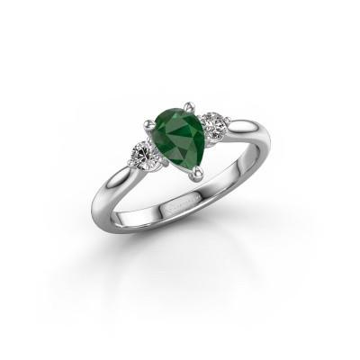 Foto van Verlovingsring Lieselot PER 950 platina smaragd 7x5 mm