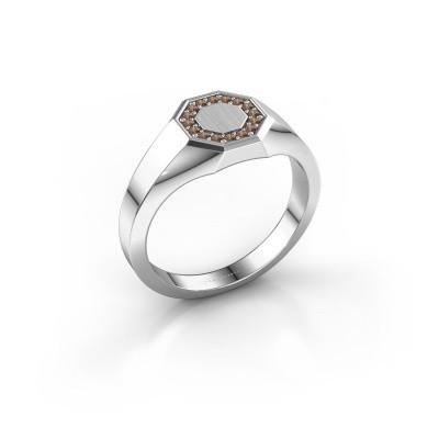 Pinkring Floris Octa 1 925 zilver bruine diamant 0.12 crt
