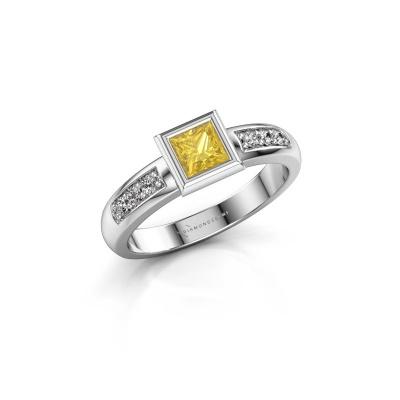 Steckring Lieke Square 925 Silber Gelb Saphir 4 mm
