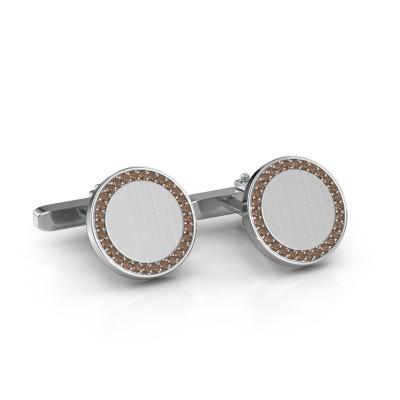 Foto van Manchetknopen Sergei 925 zilver bruine diamant 0.48 crt