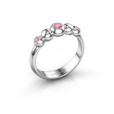 Stackable ring Lily 925 silver pink sapphire 2.5 mm