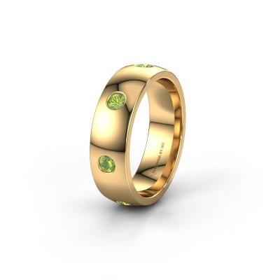 Wedding ring WH0105L26BP 375 gold peridot ±6x2 mm