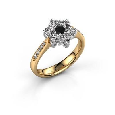 Bague de fiançailles Chantal 2 585 or jaune diamant noir 0.12 crt