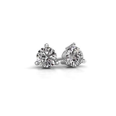 Image of Stud earrings Somer 585 white gold diamond 0.10 crt
