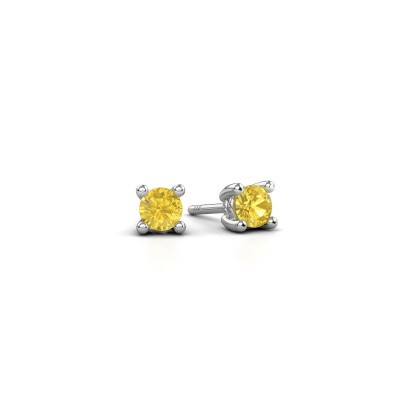 Picture of Stud earrings Sam 950 platinum yellow sapphire 4 mm