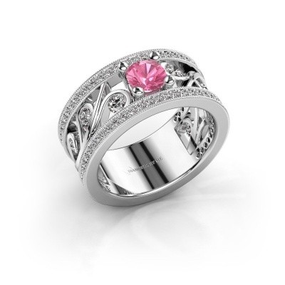 Foto van Ring Sanne 585 witgoud roze saffier 5 mm