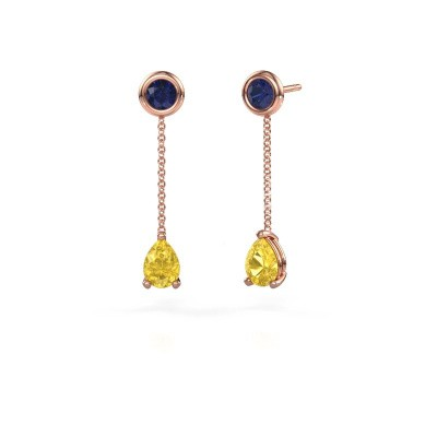 Picture of Drop earrings Laurie 3 375 rose gold yellow sapphire 7x5 mm