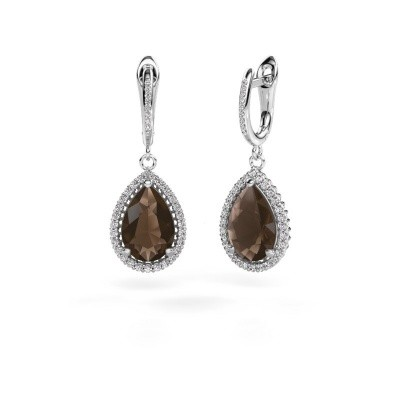 Drop earrings Hana 2 585 white gold smokey quartz 12x8 mm