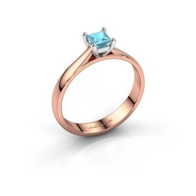 Engagement ring Sam Square 585 rose gold blue topaz 4 mm