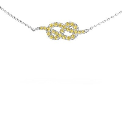 Bar ketting Infinity 1 585 witgoud gele saffier 1.1 mm
