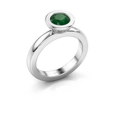 Stapelring Eloise Round 925 zilver smaragd 6 mm