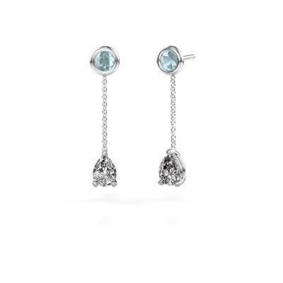 Picture of Drop earrings Laurie 3 950 platinum zirconia 7x5 mm