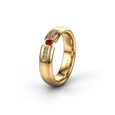 Trouwring WH2128L26C 585 goud robijn ±5x2 mm