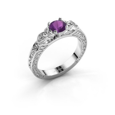 Picture of Engagement ring Gillian 950 platinum amethyst 5 mm