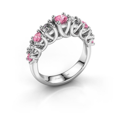 Engagement ring Fatima 925 silver pink sapphire 3.7 mm