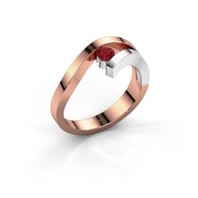 Ring Evalyn 1 585 rosé goud robijn 3.7 mm