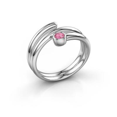 Ring Jenna 585 witgoud roze saffier 3 mm