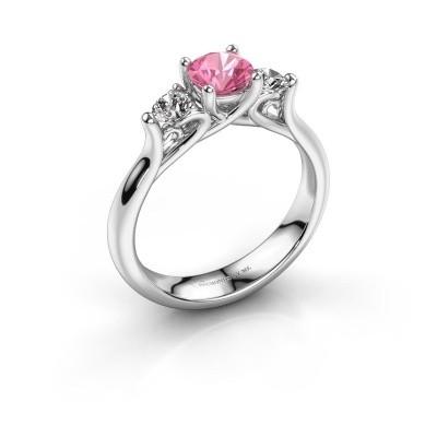 Foto van Verlovingsring Jente 925 zilver roze saffier 5.5 mm