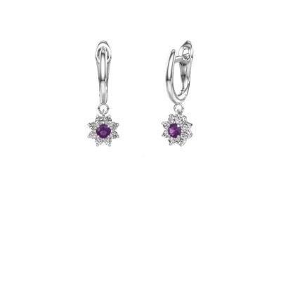 Drop earrings Camille 1 950 platinum amethyst 3 mm