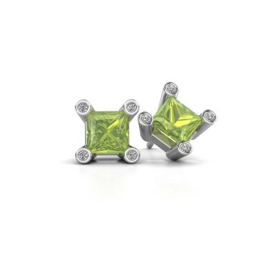Picture of Stud earrings Cornelia Square 925 silver peridot 6 mm