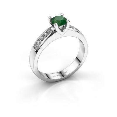 Verlovingsring Isabella 2 925 zilver smaragd 5 mm