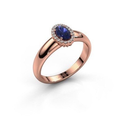 Engagement ring Tamie 375 rose gold sapphire 6x4 mm