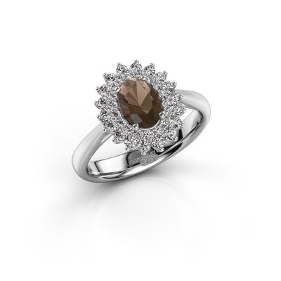 Engagement ring Alina 1 925 silver smokey quartz 7x5 mm