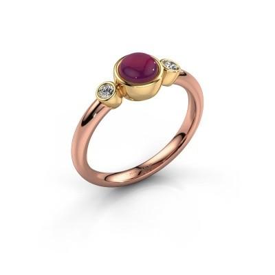 Ring Muriel 585 rosé goud rhodoliet 5 mm