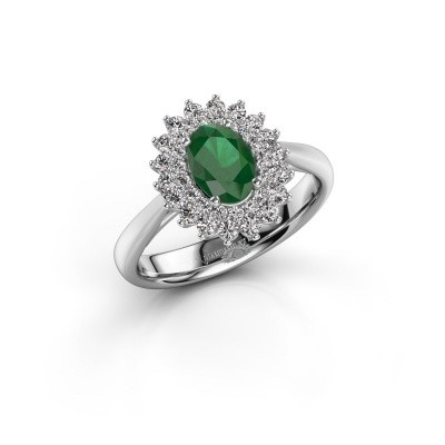 Engagement ring Alina 1 585 white gold emerald 7x5 mm