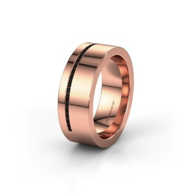 Trouwring WH0143L17BP 375 rosé goud zwarte diamant ±7x2 mm