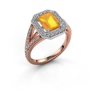 Promise ring Angelita EME 585 rosé goud citrien 8x6 mm
