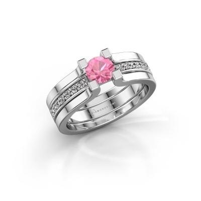 Foto van Verlovingsring Myrthe 585 witgoud roze saffier 5 mm