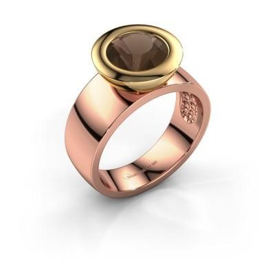 Ring Maxime 585 rosé goud rookkwarts 8 mm
