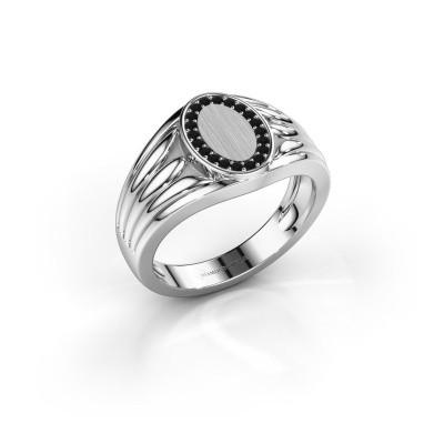 Pinkring Marinus 950 platina zwarte diamant 0.18 crt