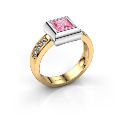 Ring Charlotte Square 585 gold pink sapphire 5 mm