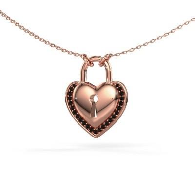 Halsketting Heartlock 375 rosé goud zwarte diamant 0.138 crt