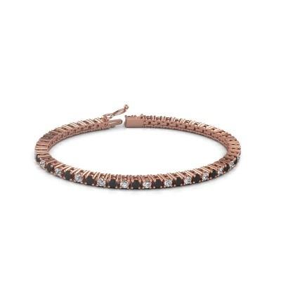 Foto van Tennisarmband Petra 375 rosé goud zwarte diamant 5.62 crt