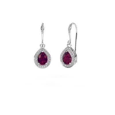Picture of Drop earrings Beverlee 2 585 white gold rhodolite 7x5 mm