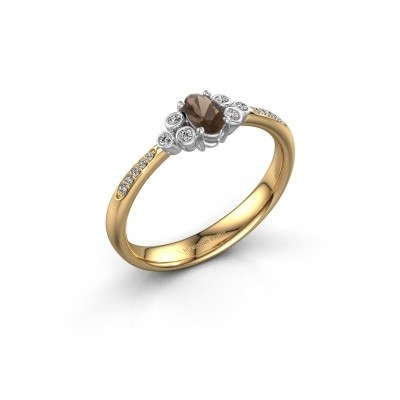 Verlovingsring Lucy 2 585 goud rookkwarts 7x5 mm