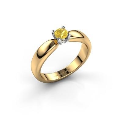 Promise ring Katrijn 585 goud gele saffier 4.2 mm