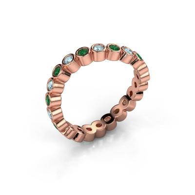 Ring Liz 585 rosé goud smaragd 2 mm
