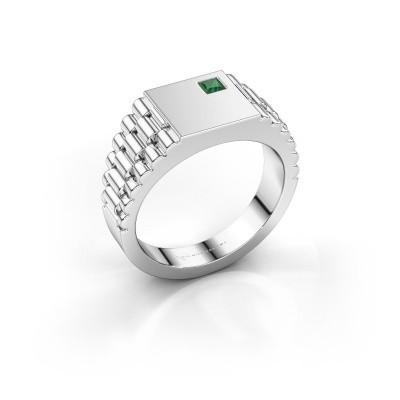 Foto van Rolex stijl ring Pelle 585 witgoud smaragd 3 mm